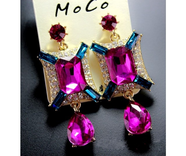 Latest design pink hanging diamond drop earrings wholesale rhinestone big gemstone earring for women