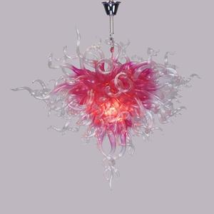 Modern hand blown art pink clear glass chandelier with cold led source lighting