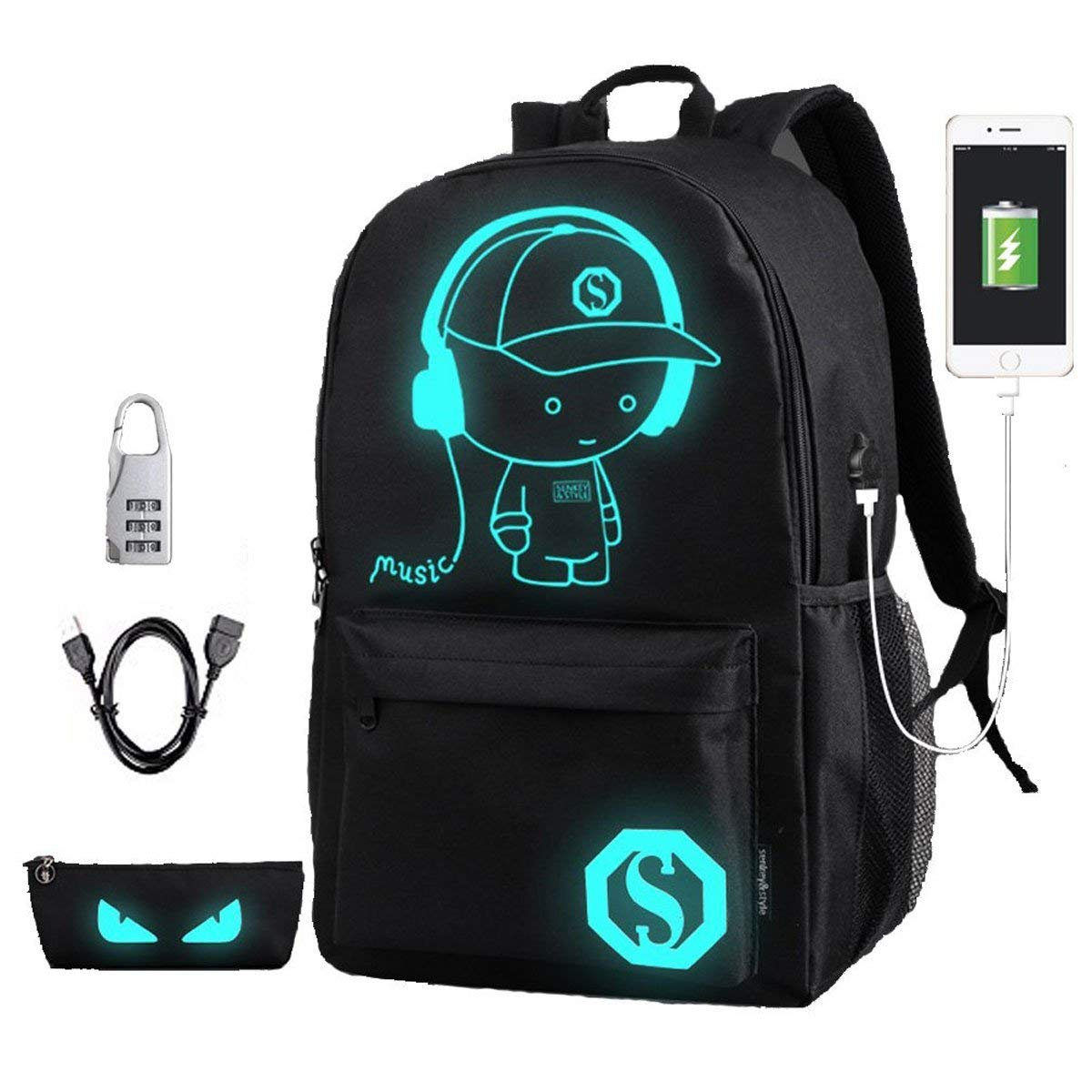 AIGOROSE Raged Sheep School Backpack Student Luminous Animation School Bags For Teenager USB Charge Computer Anti-theft Laptop Backpack (Black)