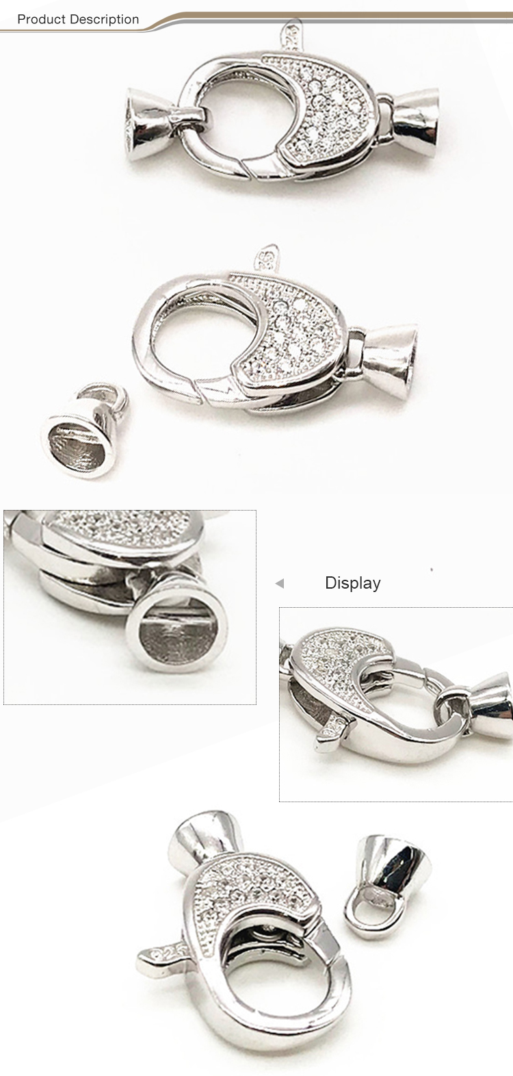 Custom jewelry clasp manufacturer 925 sterling adjustable necklace silver double lobster clasp clasp lock