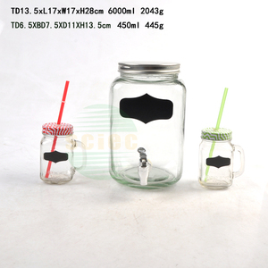 500ml clear glass manson jar with hand for drinking