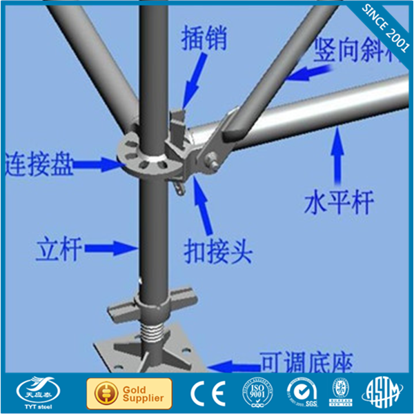 ringlock base collar/scaffolding accessories aluminum ringlock scaffolding for hotel maintenance