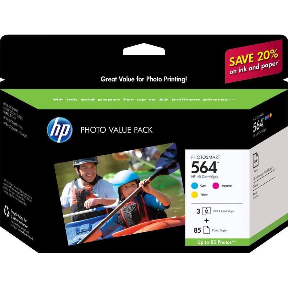 HP 564 Cyan, Magenta & Yellow Original Ink Cartridges with Photo Paper, 3 pack (CG925AN)