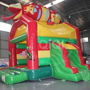 red bouncer with small slide 0.55mm pvc tarpaulin