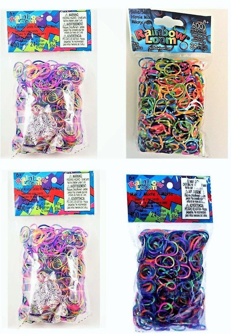 Authentic Rainbow Loom Hippie 4 Pack Lot (Hippie Mix, Rainbow Tie Dye,(2) Jelly Tie Dye) 2400 Bands 96 Clips