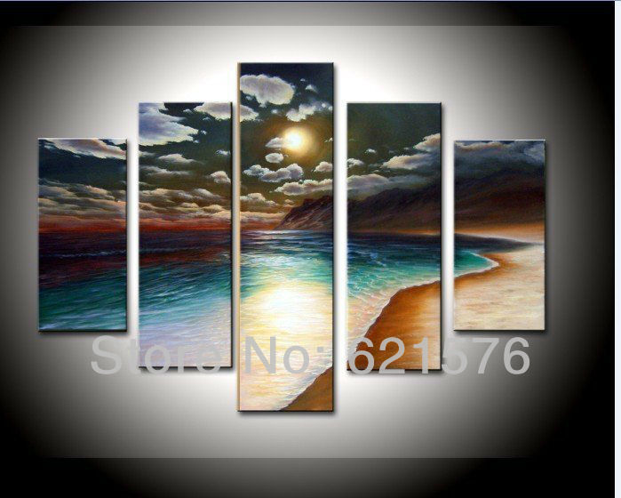 Hand-painted Hi-Q modern wall art home decor abstract seascape oil painting on canvas Moonlight shining on the beach 5pcs/set