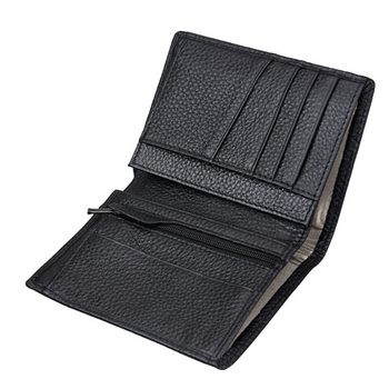 Fast Delivery Black Genuine Leather Men 3 Fold RFID Wallet Wholesale For Amazon