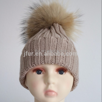 Fashion modern Baby Pompom Hat Large Raccoon Fur Ball Beanie Knitted Cap  Favorable Design 18c6098cd6f