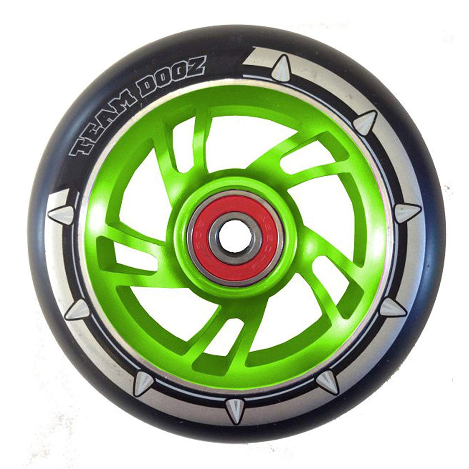 Team Dogz 100mm Swirl Scooter Wheel - Green Core with Black Tyre
