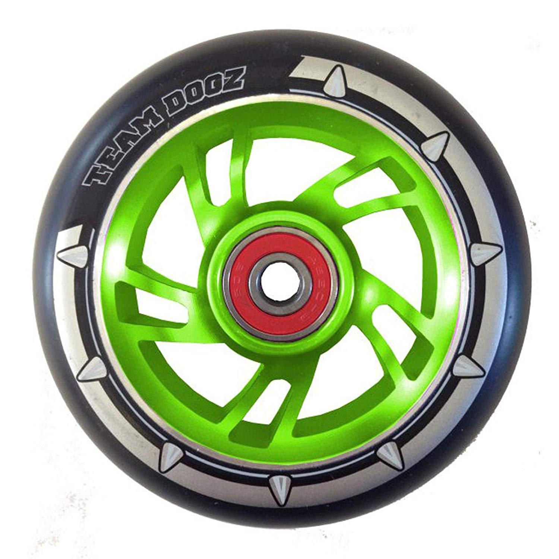 Team Dogz 100mm Swirl Scooter Wheel - Green Core with Black Tyre