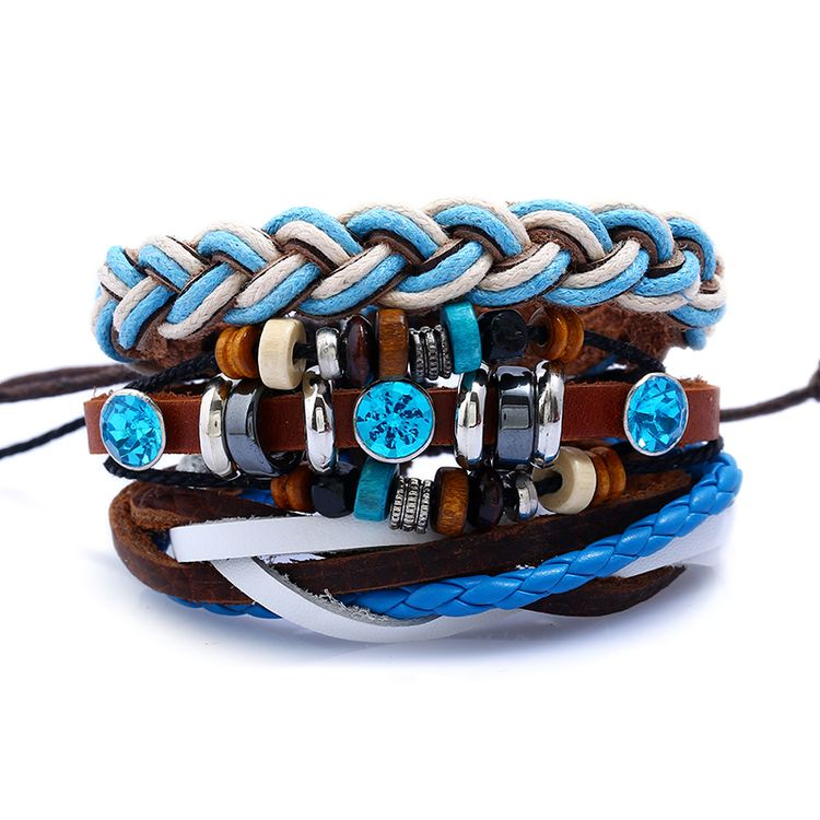Men's Genuine Leather Bracelet Stackable Wood Bead Elastic Bracelet With Adjustable Sized Leather Bracelet Set