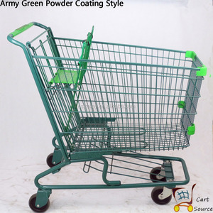 4 Wheel Supermarket American style wire basket shopping trolley cart