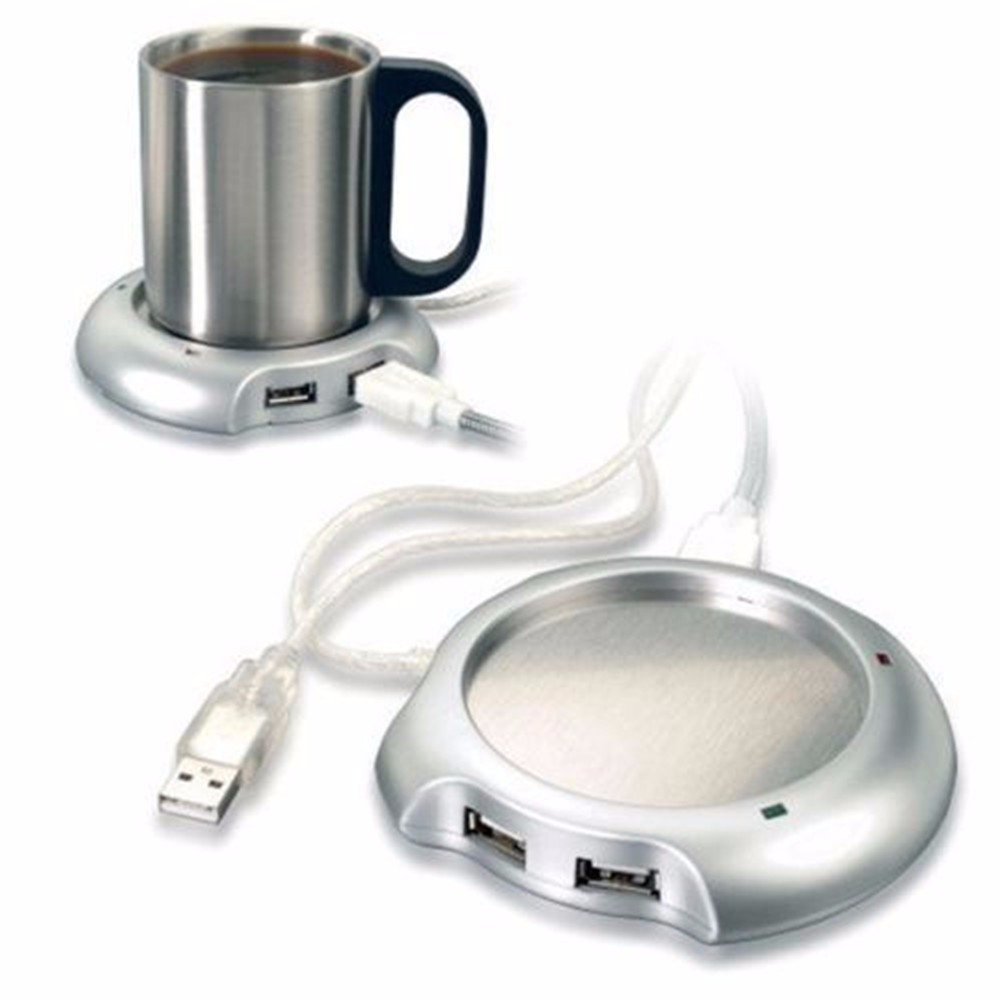 Silver Tea Coffee Beverage Cup Mug Warmer Heater Pad with 4 Port USB 2.0 Hub