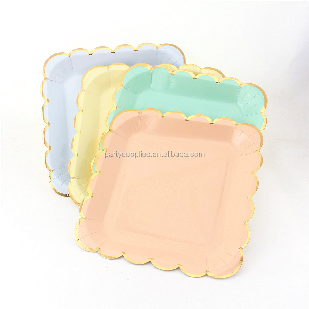 Pastel Rainbow Square Paper Plates Dinner for Unicorn Party 1st First Birthday Ideas Mermaid Pastel  sc 1 st  Alibaba & Pastel Rainbow Square Paper Plates Dinner For Unicorn Party 1st ...