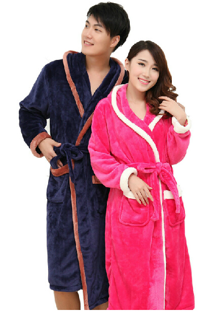 Get Quotations · Men Bathrobe Women Winter Hot Sale Soft coral Flannel Solid  Warm Sleepwear Couple Robes Cute Bath 495602f45