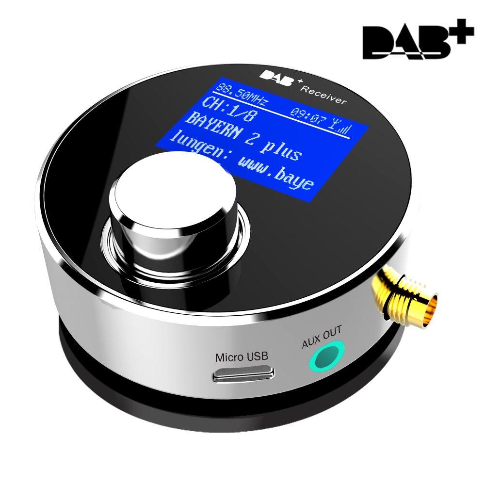 DAB / DAB+ dab receiver with fm transmitter in car digital radio player smartphone usb charger and fm radio mini digital speaker
