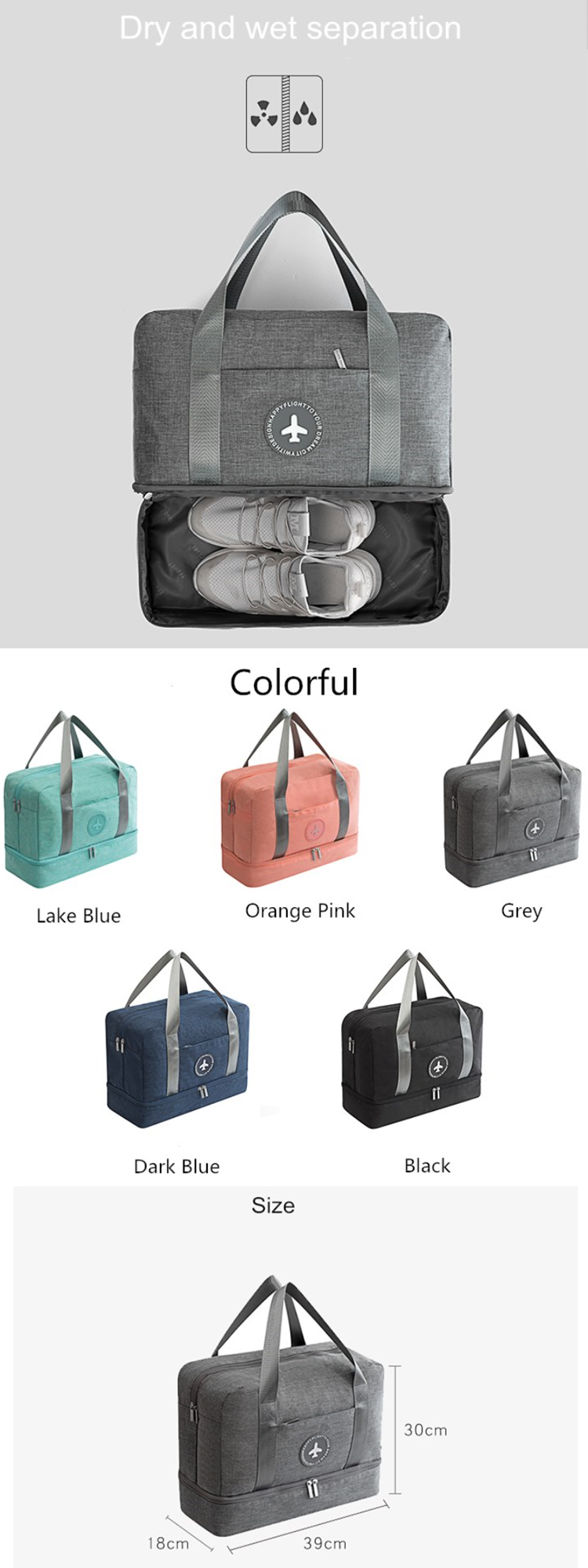 Osgoodway2 Portable Travel Duffel Bag Large Capacity Dry and Wet Separation Gym Bag for Swimming