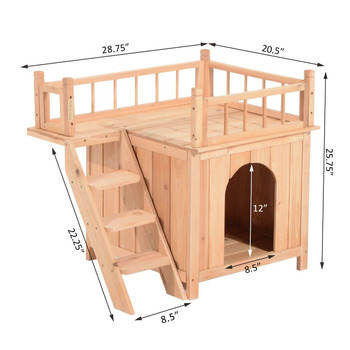 2 Story Indoor Outdoor Wood Cat Dog House Shelter