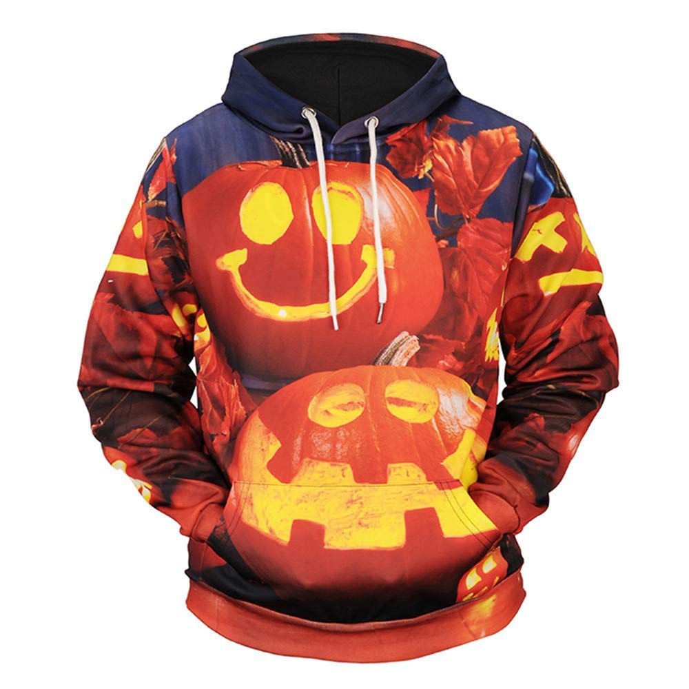 POTO Halloween Sweatshirt,Mens Pumpkin 3D Print Hoodie Sweatshirts Jumper Hooded Pullover Tops Blouse Shirt