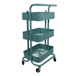 3-Tier Metal Utility Food Service Trolley Rolling Kitchen Trolley Storage Shelves