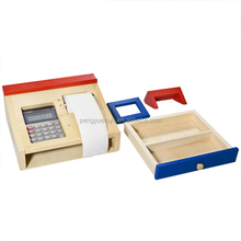 2015 Pretend play role play wooden toys cashier set for sale
