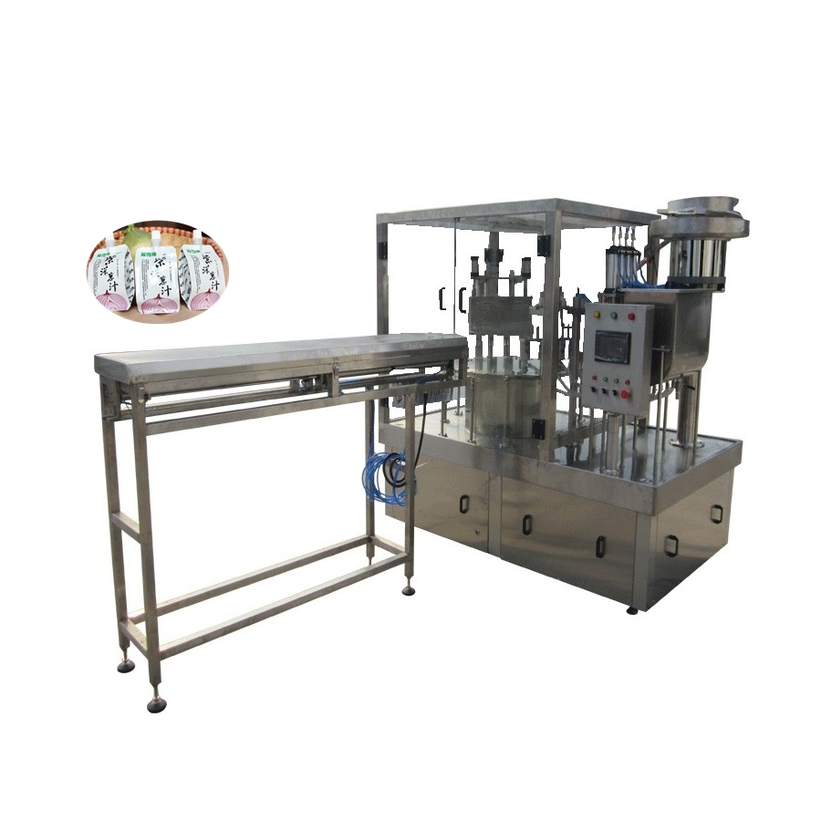 Automatic packing machine stand pouch doy pack filling capping machine for juice jelly water