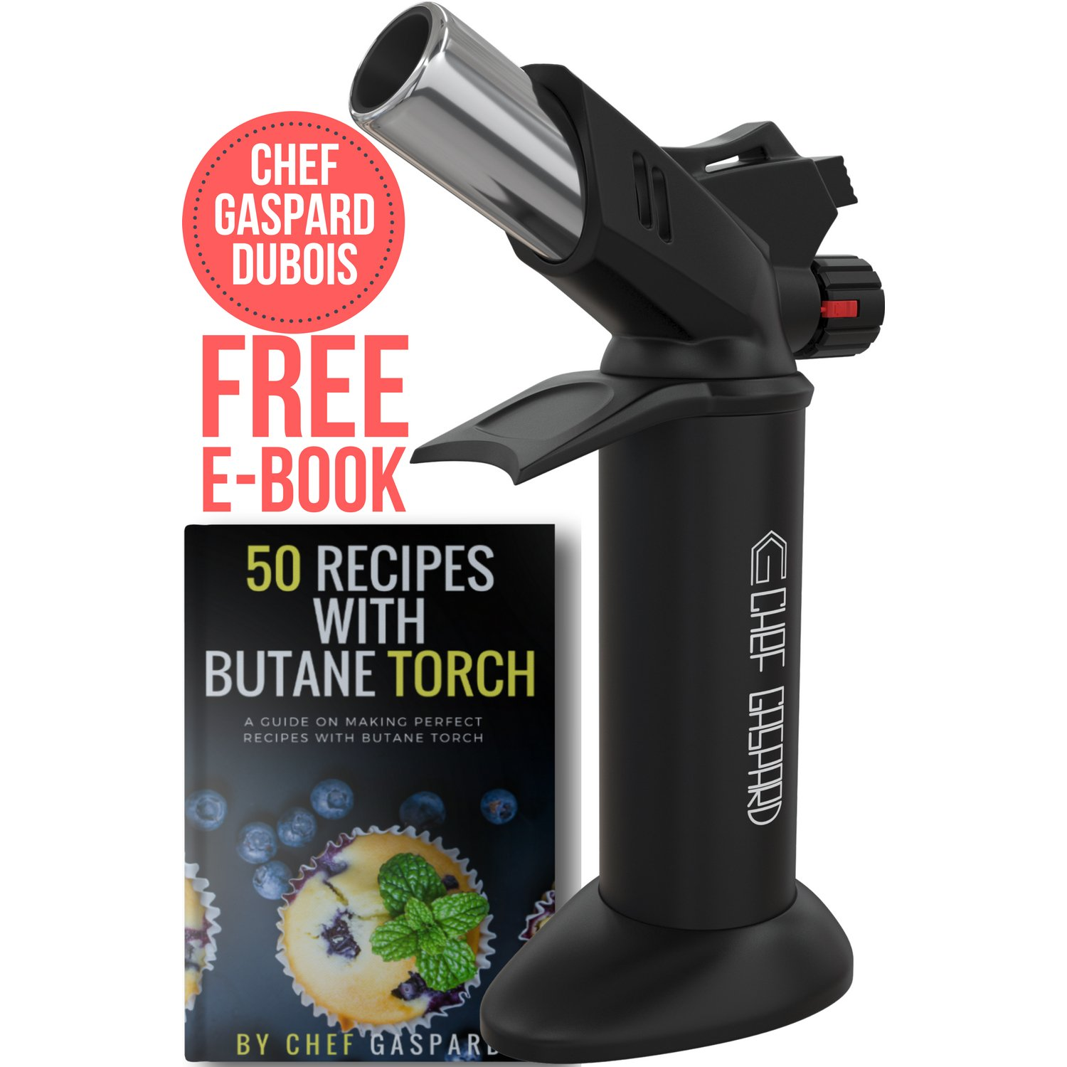 Butane Torch - Culinary Torch - Creme Brulee Torch - Cooking Torch - Blow Torch - Kitchen Chef Torch - Butane Torch Lighter - Blow Torch Kit - Culinary Torch Lighter - Butane Lighter Torch, Black