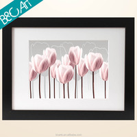 Beautiful pink oil painting flower picture used to hang in wall