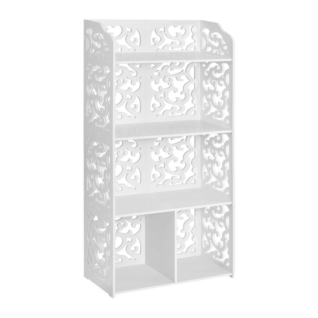 Get Quotations Finether 4 Shelf Shelving Unit Modular White Wooden Plastic Composite Tier