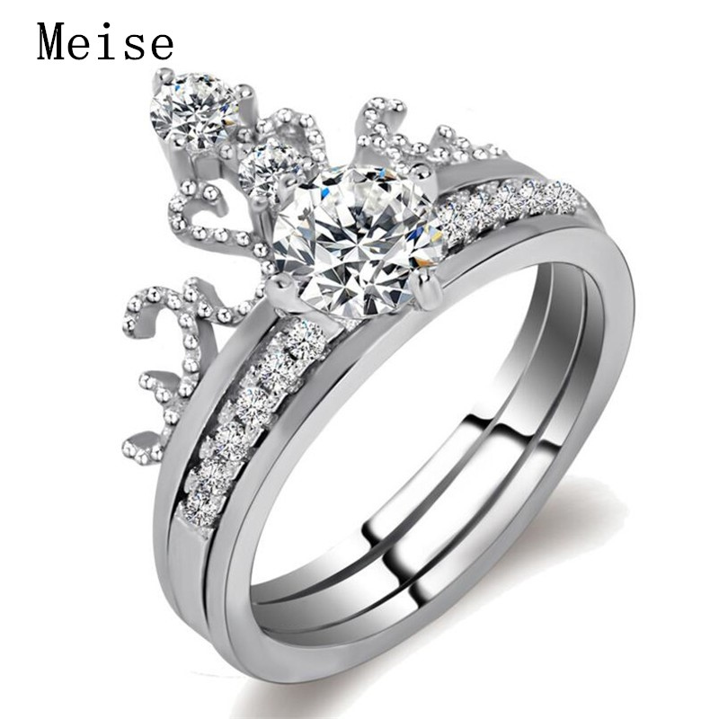 Yiwu Meise Double Female Combination Two Sets of Crown Ring