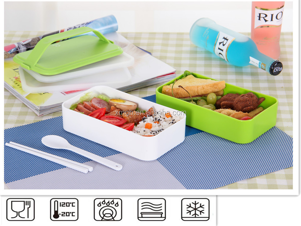 handle 2 layers bento lunch box food containers with spoon fork and knife 40 ounce buy non. Black Bedroom Furniture Sets. Home Design Ideas