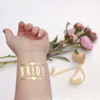 Individuell verpackt Flash Bachelorette Tattoos Gold Team Bride Tätowierung