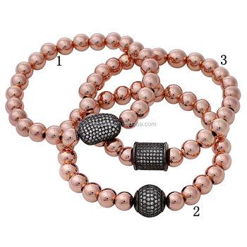 b08956b9fe1 B15111723 Latest Design Handmade Bracelet Rose Gold Filled Bead Bangles Cz  Pave Ball Stretch Bracelet