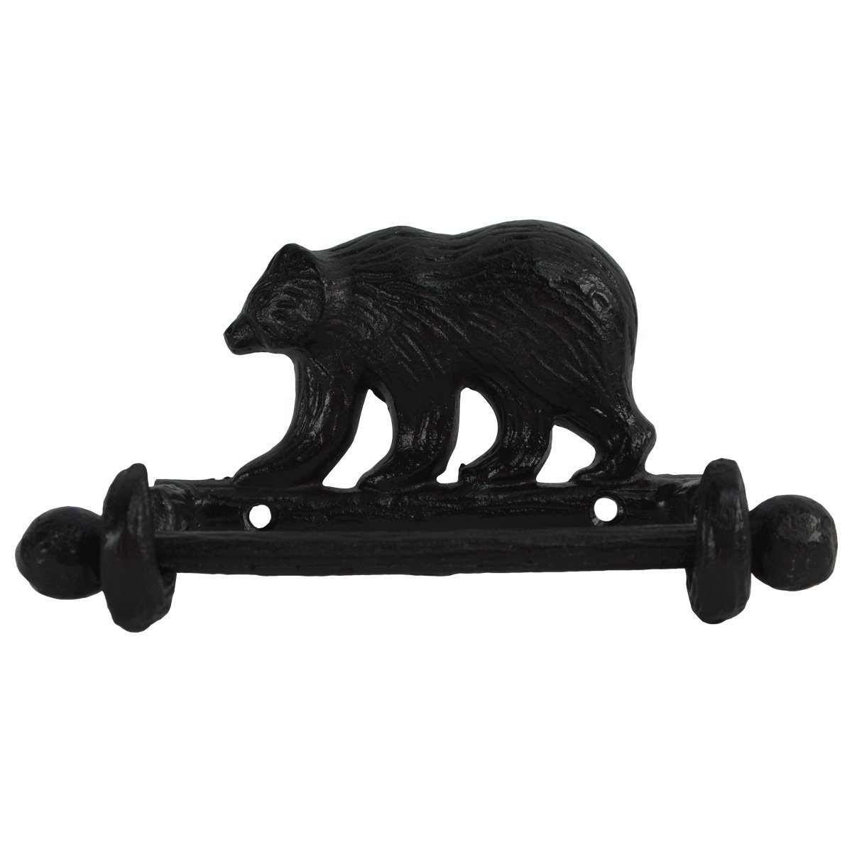 Black Metal Wall Mount Bear Toilet Paper TP Roll Holder Rustic Cabin Bath Decor