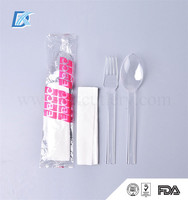 Inflight Reliable High Quality Custom Transparent Disposable Plastic Fork Spoon Cutlery Pack
