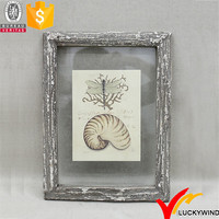 Wood Craft Shabby Shell Dragonfly Themed Picture Frames
