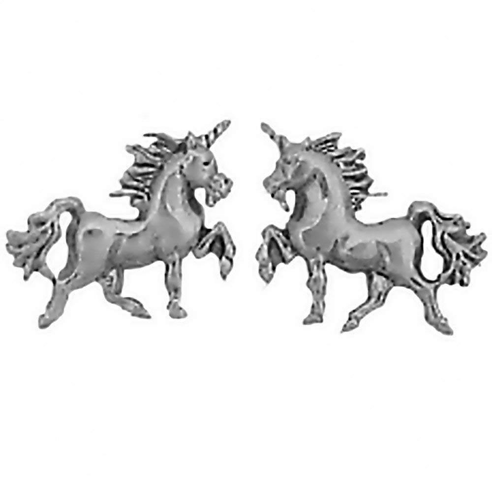 7daa68a2b Get Quotations · CM 925 Sterling Silver Unicorn Earrings Studs Tiny Mini  Horned Horse Stainless Steel Posts and Backs