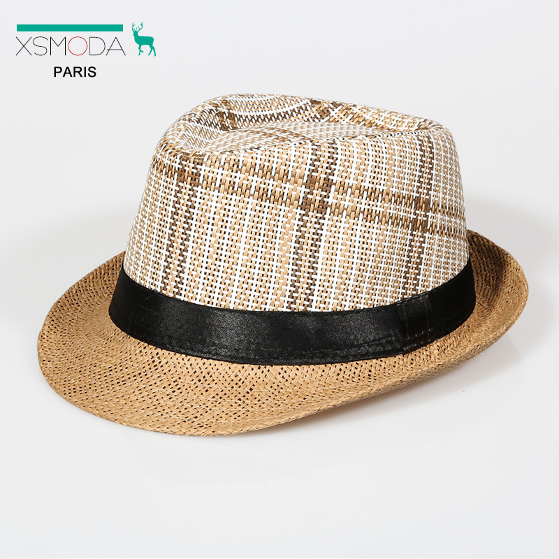 Wholesale adult summer outdoor straw headwear women and men beach casual plaid fedora hats