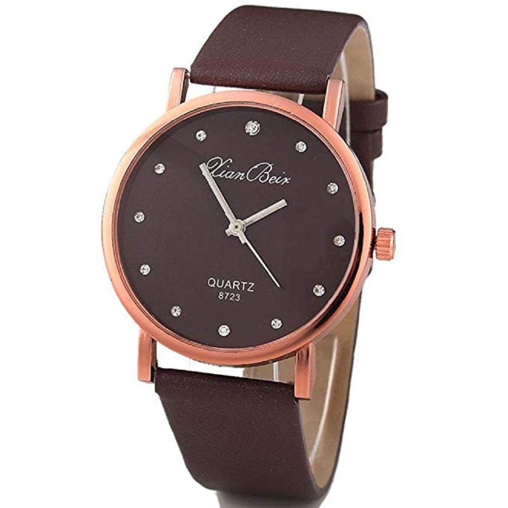 Womens Watches, Windoson Unique Quartz Analog Fashion Lady Watches Female Watches Casual Wrist Watches for Women,Round Dial Case Comfortable Faux Leather (Coffee)