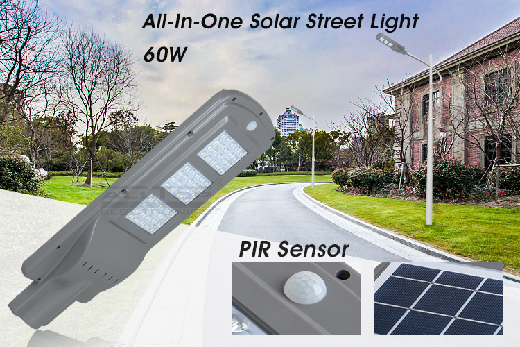 ALLTOP Outdoor IP65 waterproof aluminum 60W ce rohs smd solar led street light