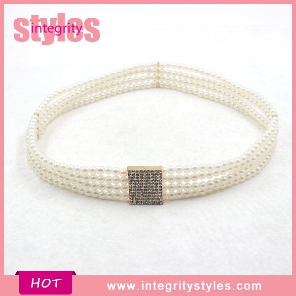 2016 Metal Rhinestone Buckle Pearl Stretch Waist Chain Belt