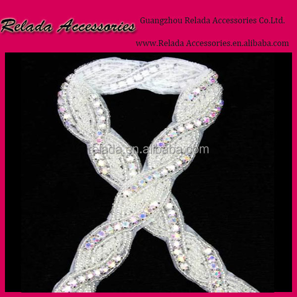 Factory wholesale custom rhinestone trimming crystal appliques for wedding dresses