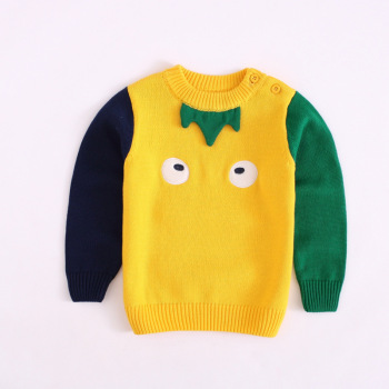 Hot new products korean infant little kids boys O neck pullover sweater design for kids