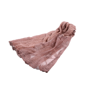 wholesale cotton shawls stoles women lace scarves wrap long stylish pashmina embroidery organza lace