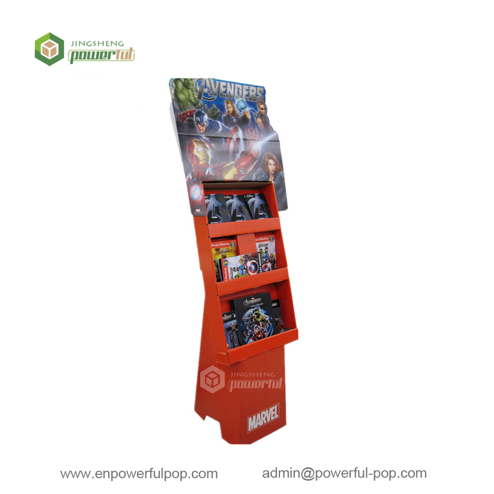 advertising cartoon game disc DVD POS cardboard power wing floor display racks