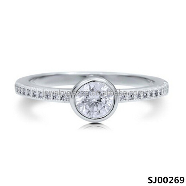 High Quality Diamond Ocean Inspired Engagement Ring 925 Sterling