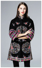 Stand up collar bell sleeve ladies embroidery wool coat for winter, coat supplier from China