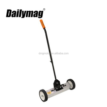 Outdoor rotary magnetic hand sweeper with wheels