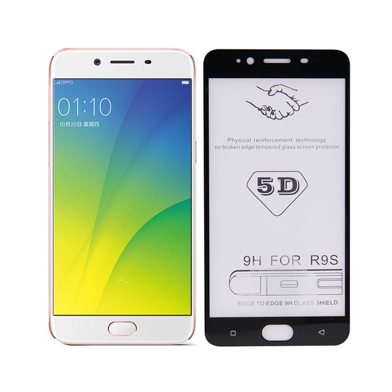 hot sale 9h HD 5D full glue curved tempered glass screen protector for oppo r9s