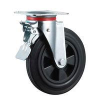 200mm rubber caster wheels with brake 8inch plastic rim swivel wheels for 660L garbage bins